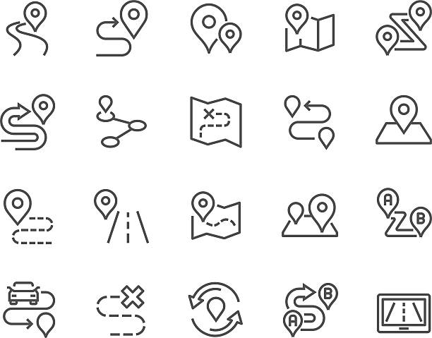 Line Route Icons Simple Set of Route Related Vector Line Icons. Contains such Icons as Map with a Pin, Route map, Navigator, Direction and more. Editable Stroke. 48x48 Pixel Perfect. distant stock illustrations