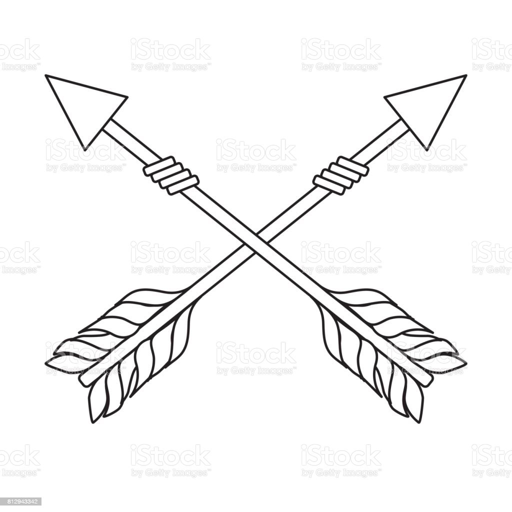 Line Rustic Arrows With Ornamental Design Royalty Free Stock
