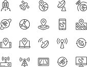 Line Satellite Icons