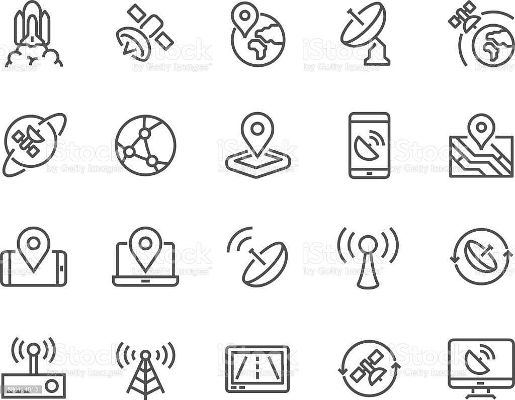 Line Satellite Icons vector art illustration