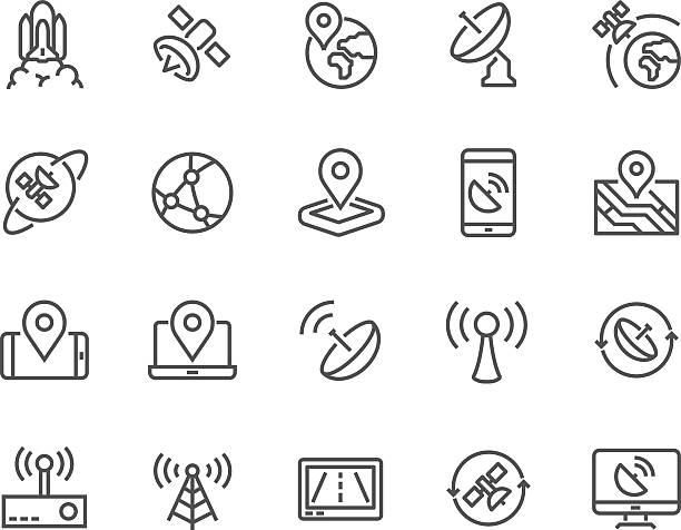 Line Satellite Icons Simple Set of Satellite Related Vector Line Icons. Contains such Icons as Spacecraft Lunch, Antenna, Map, Dish and more. Editable Stroke. 48x48 Pixel Perfect. communications tower stock illustrations