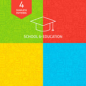 Line School and Education Tile Patterns. Vector Illustration of Science and Learning Seamless Backgrounds.