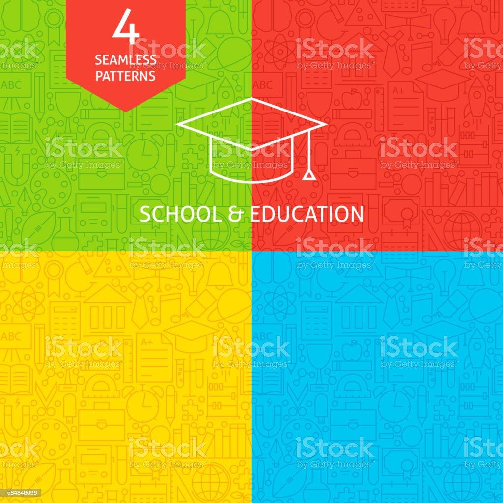 Line School and Education Tile Patterns vector art illustration