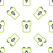 istock Line School backpack icon isolated seamless pattern on white background. Vector 1272474214