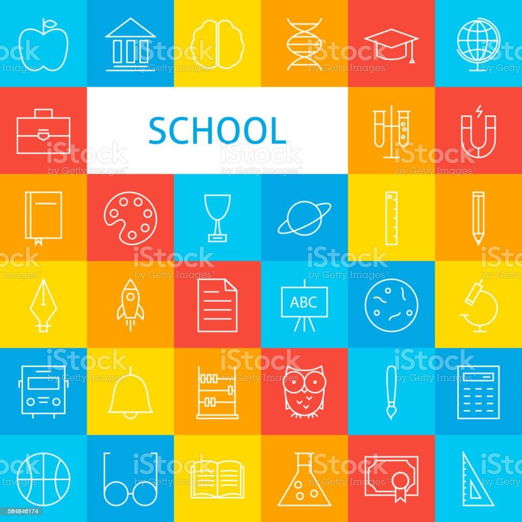 Line School Icons Set vector art illustration