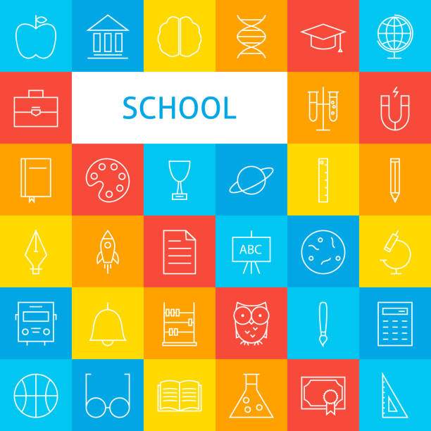 line school icons set - primary school stock illustrations, clip art, cartoons, & icons