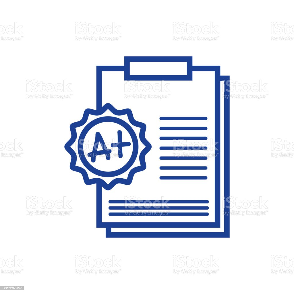 line school report education with A plus result vector art illustration