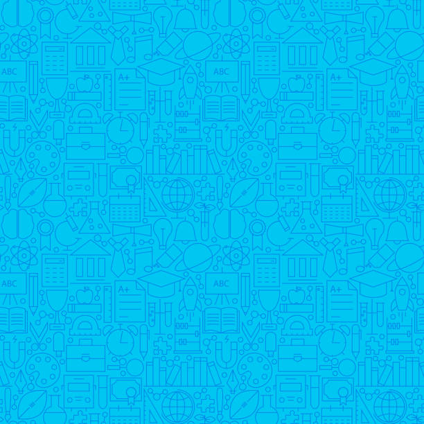line science education blue tile pattern - grundschule stock-grafiken, -clipart, -cartoons und -symbole