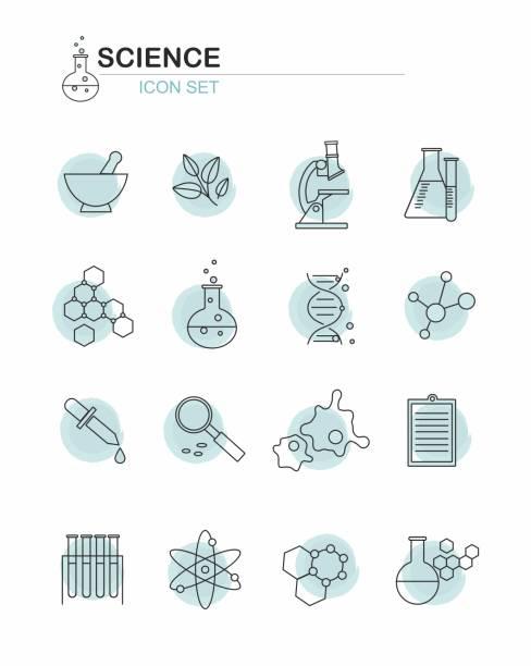 ilustraciones, imágenes clip art, dibujos animados e iconos de stock de línea ciencia icons set sobre fondo blanco - química