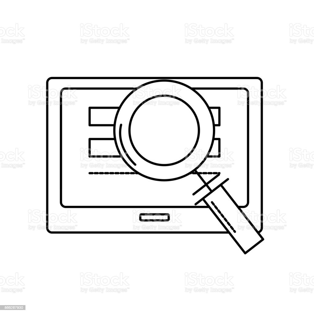 line screen technology with information and magnifying glass vector art illustration