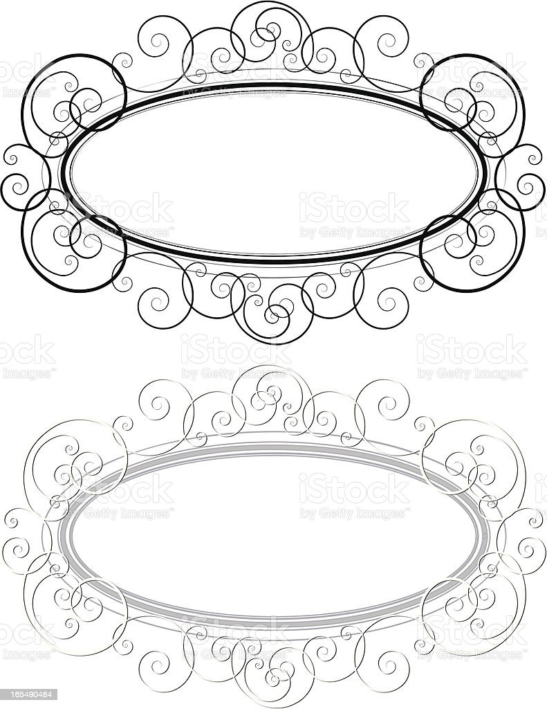 Line Scroll with Oval Frame royalty-free line scroll with oval frame stock vector art & more images of art deco