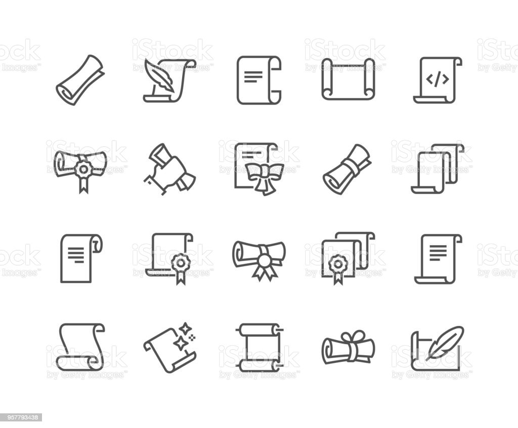 Line Scrolls and Papers Icons - arte vettoriale royalty-free di Accarezzare