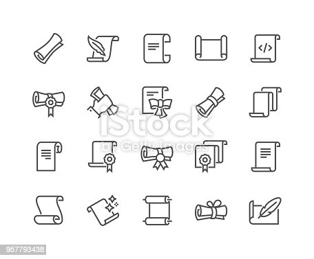 Simple Set of Scrolls and Papers Related Vector Line Icons. Contains such Icons as Education Diploma, Magic Paper, Code Listing and more. Editable Stroke. 48x48 Pixel Perfect.