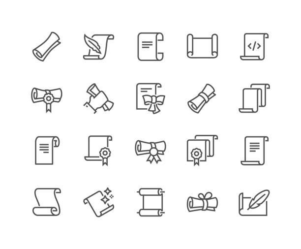 illustrazioni stock, clip art, cartoni animati e icone di tendenza di line scrolls and papers icons - rotolo