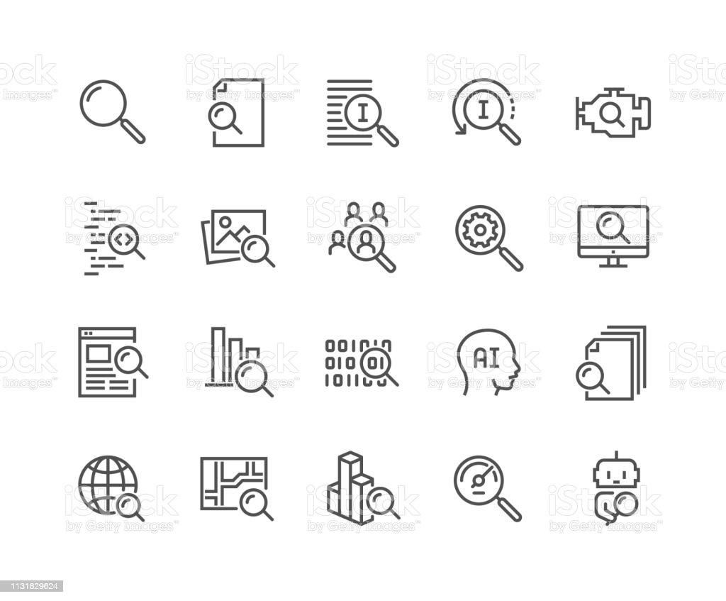Lijn zoeken iconen - Royalty-free Aaien vectorkunst