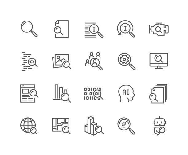Line Search Icons Simple Set of Search Related Vector Line Icons.  Contains such Icons as Reverse Indexation, Search Bot, Artificial Intelligence and more. Editable Stroke. 48x48 Pixel Perfect. icon stock illustrations