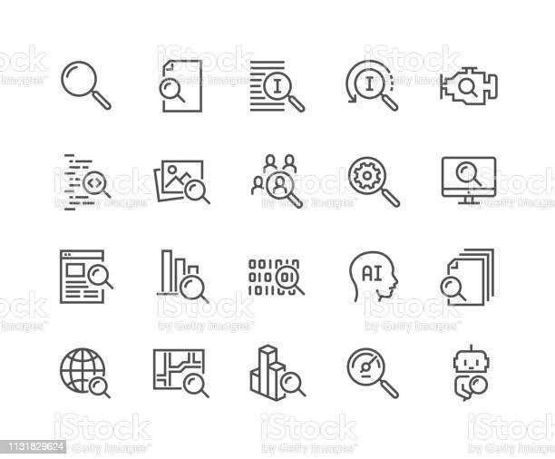 Lijn Zoeken Iconen Stockvectorkunst en meer beelden van Aaien