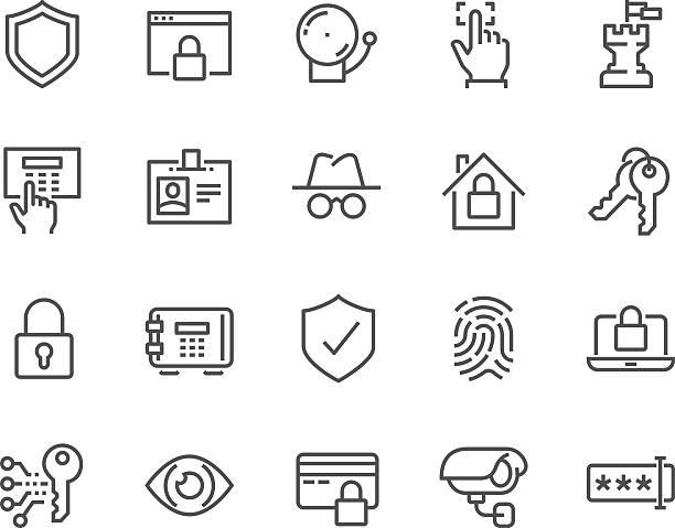 stockillustraties, clipart, cartoons en iconen met line security icons - alarm, home,