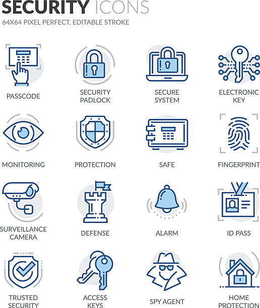 Line Security Icons Simple Set of Security Related Color Vector Line Icons. Contains such Icons as Surveillance Camera, Fingerprint, ID pass and more. Editable Stroke. 64x64 Pixel Perfect. security staff stock illustrations