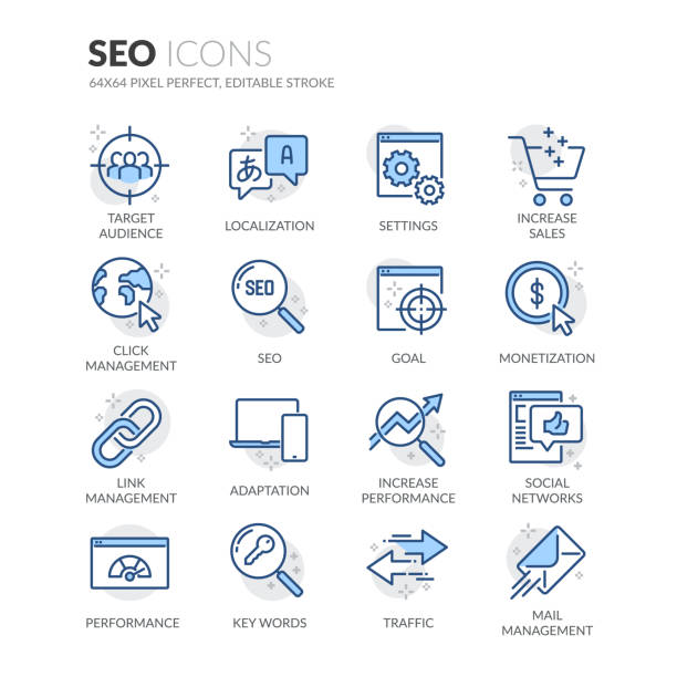 Line SEO Icons Simple Set of SEO Related Vector Line Icons.  Contains such Icons as Localization, Traffic, Performance Tracking and more. Editable Stroke. 64x64 Pixel Perfect. seo stock illustrations