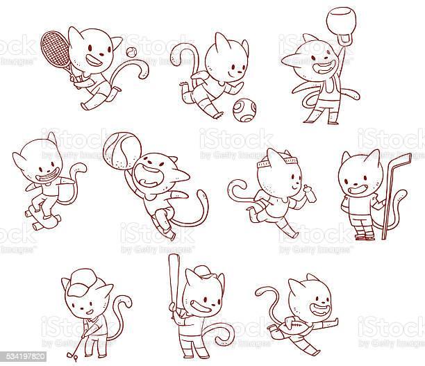 Line set cute cats engaged in variety of sports vector id534197820?b=1&k=6&m=534197820&s=612x612&h=ijjjndtc76bstipvor3eajbrg 6vvac1h pfr4269yo=
