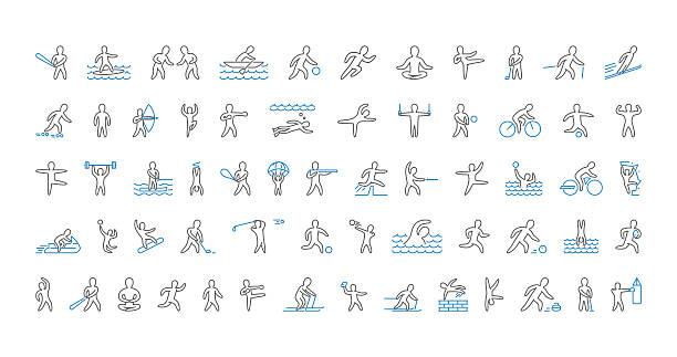 Line set of sports icons. Vector linear symbol of sportsmen. – Vektorgrafik