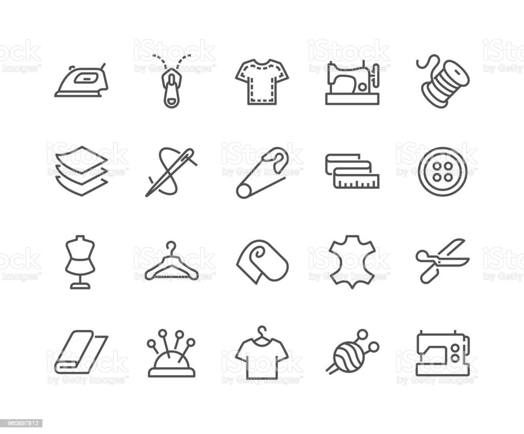 Line Sewing Icons Simple Set of Sewing Related Vector Line Icons. Contains such Icons as Sewing Machine, Measuring Tape, Wool and more. Editable Stroke. 48x48 Pixel Perfect. Adhesive Tape stock vector