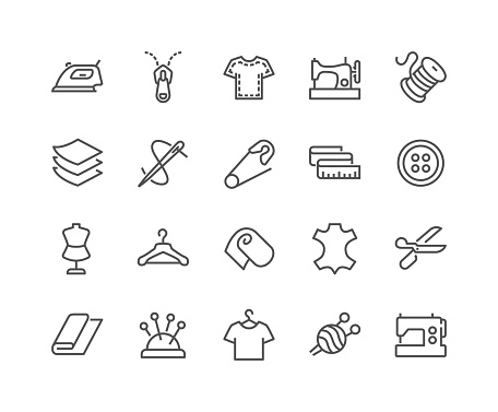 Line Sewing Icons Stock Illustration - Download Image Now