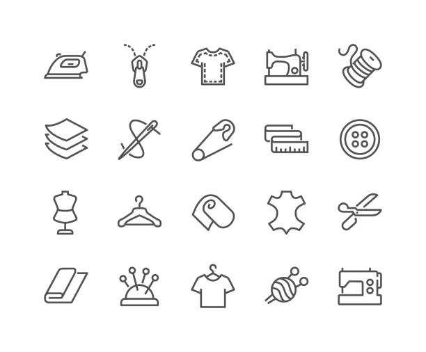 line sewing icons - fashion stock illustrations