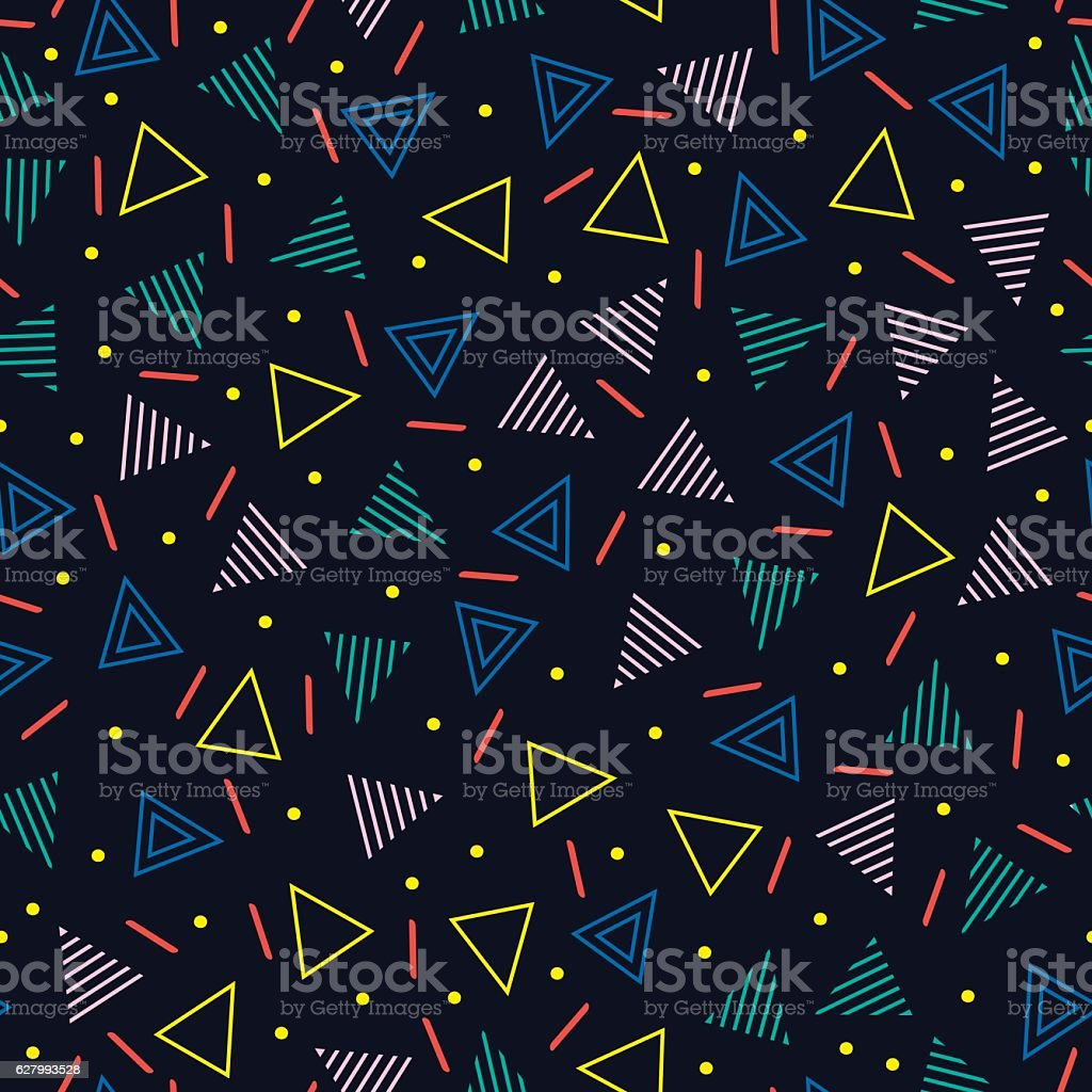 line shapes seamless patterns. Fashion 80-90s. Jumble textures. Triangle. vector art illustration