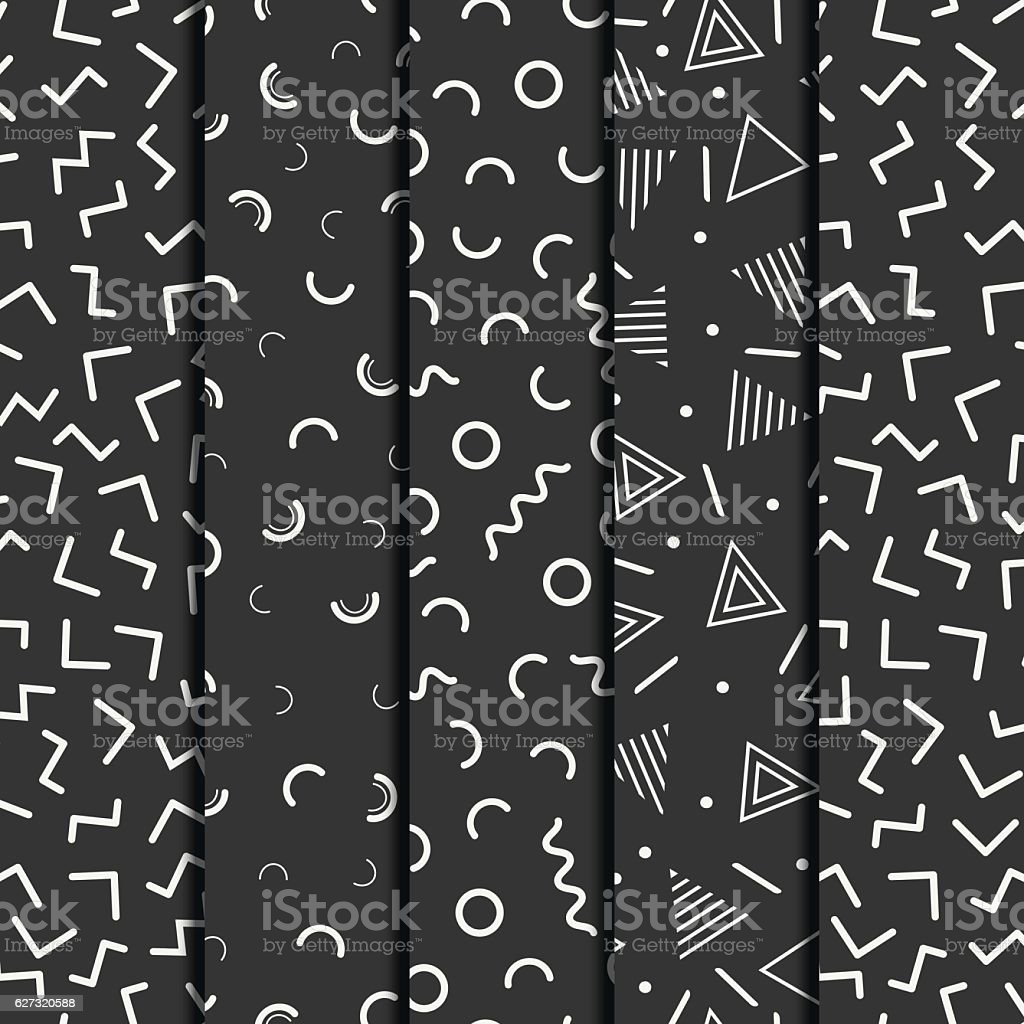 line shapes seamless patterns set. Fashion 80-90s. Jumble. Zigzag.