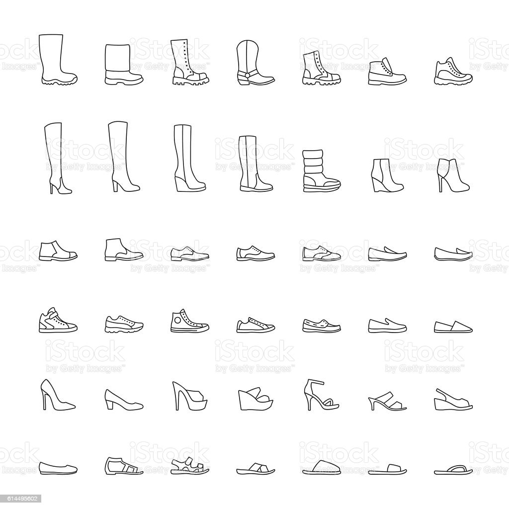 Line shoes icons set. Vector illustration vector art illustration