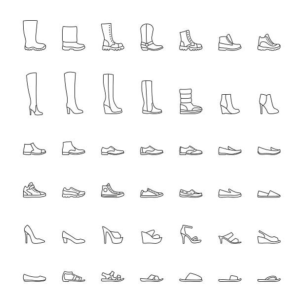 line shoes icons set. vector illustration - wysokie obcasy stock illustrations