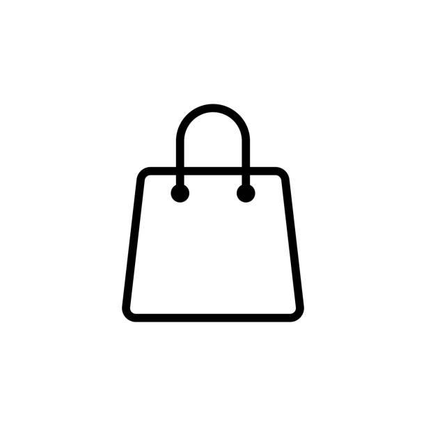 line shopping bag icon on white background - torba na zakupy stock illustrations