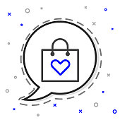 Line Shopping bag with heart icon isolated on white background. Shopping bag shop love like heart icon. Valentines day symbol. Colorful outline concept. Vector Illustration