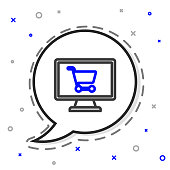 istock Line Shopping cart on screen computer icon isolated on white background. Concept e-commerce, e-business, online business marketing. Colorful outline concept. Vector Illustration 1255067111