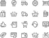 Simple Set of Shopping Related Vector Line Icons. Contains such Icons as Shop, Delivery, Shopping bag, Sale, Wallet, Online Support and more. Editable Stroke. 48x48 Pixel Perfect.
