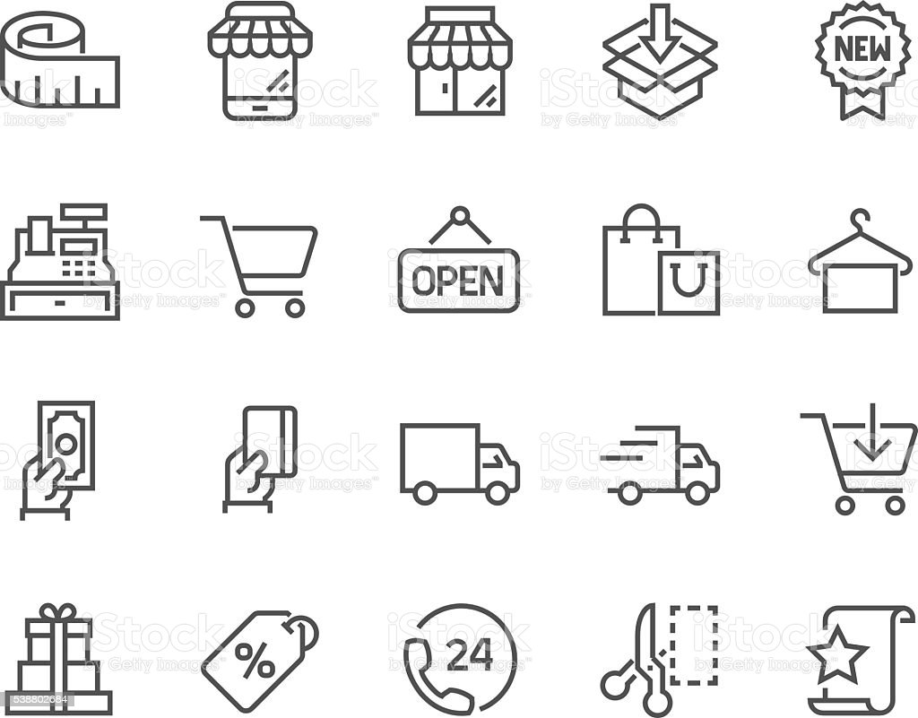 Line Shopping Icons vector art illustration