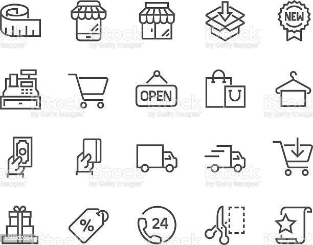 Ícones De Compras De Linha - Arte vetorial de stock e mais imagens de Acariciar