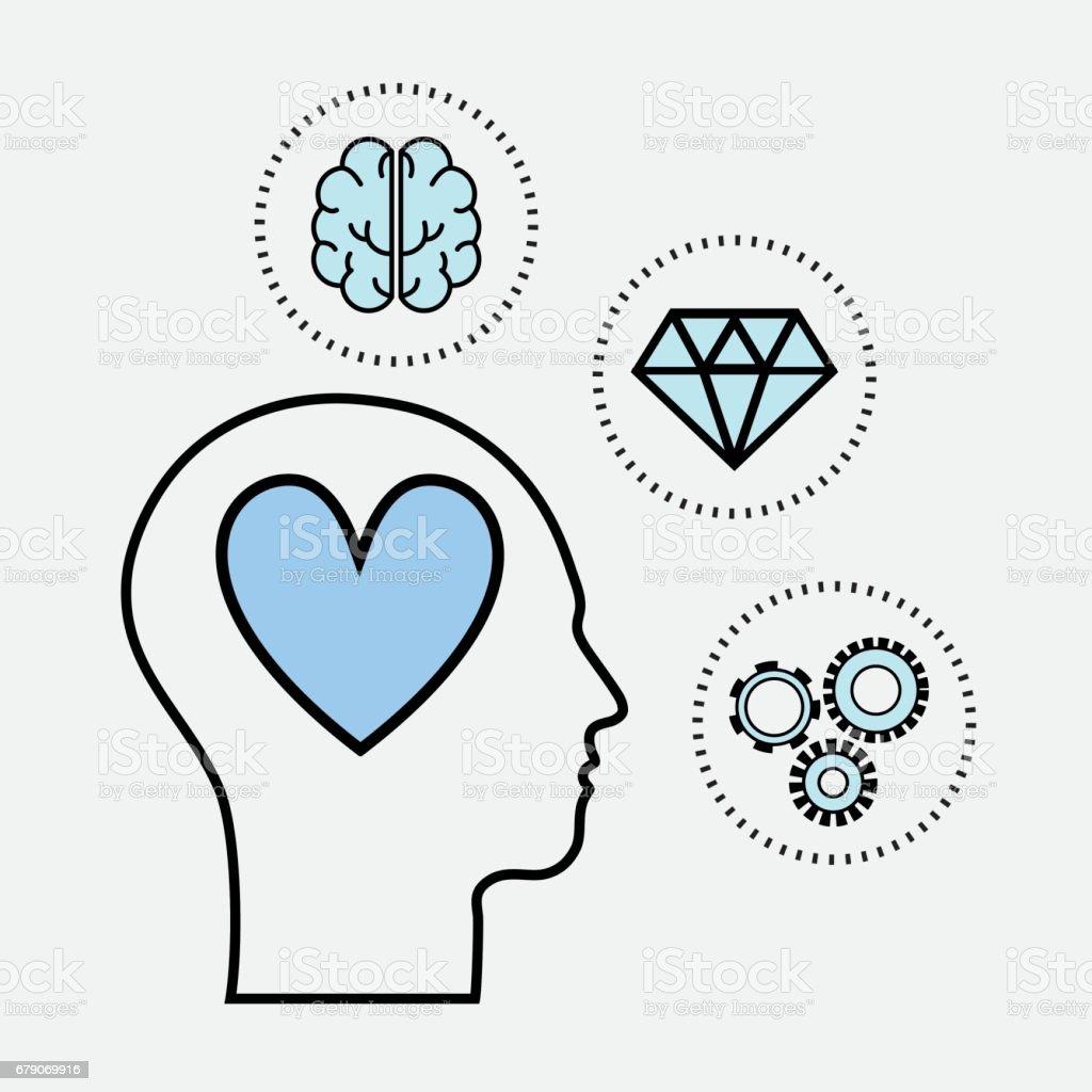 saúde mental da linha silhueta cabeça conceito - ilustração de arte em vetor