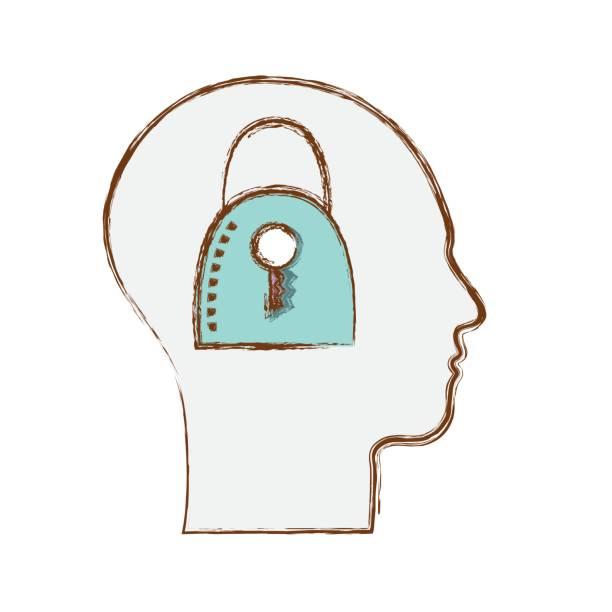 silhouette fadenkopf mit vorhängeschloss im inneren - funktionssofa stock-grafiken, -clipart, -cartoons und -symbole