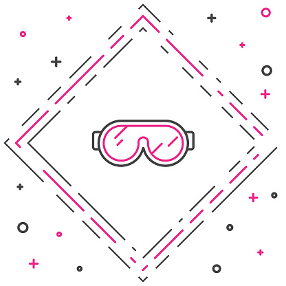 Line Ski goggles icon isolated on white background. Extreme sport. Sport equipment. Colorful outline concept. Vector Illustration