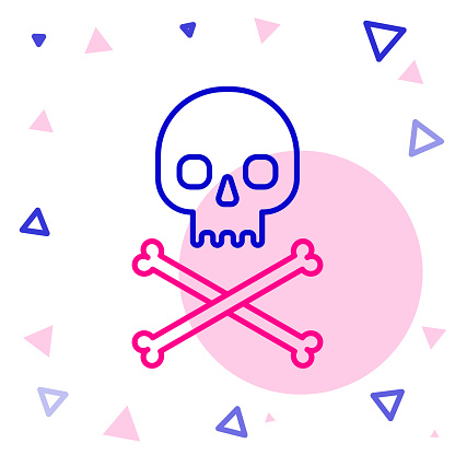 Line Skull on crossbones icon isolated on white background. Colorful outline concept. Vector Illustration