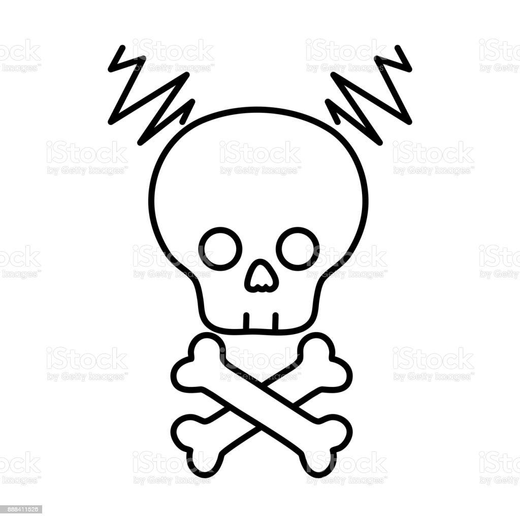 line skull with bones to dander symbol to death vector art illustration
