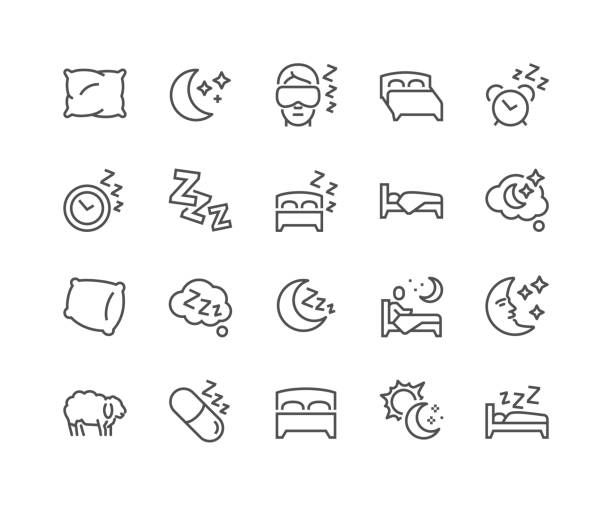 Line Sleep Icons Simple Set of Sleep Related Vector Line Icons. Contains such Icons as Insomnia, Pillow, Sleeping Pills and more. Editable Stroke. 48x48 Pixel Perfect. bed furniture stock illustrations