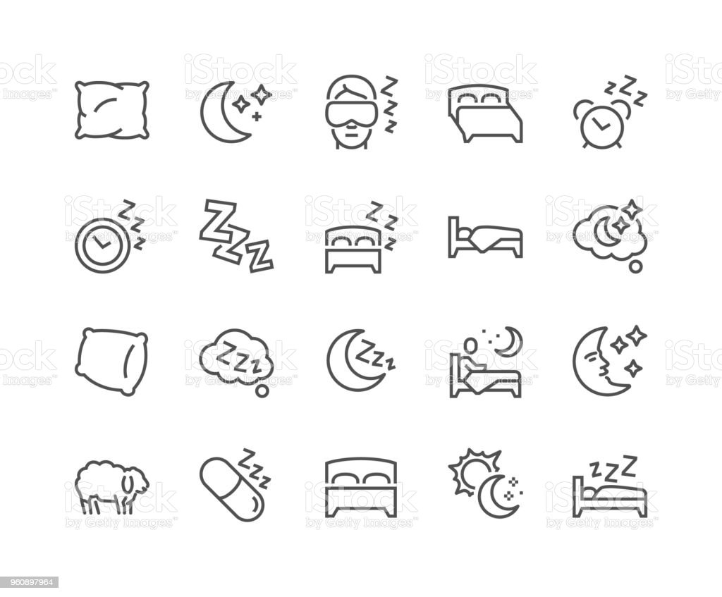 Line Sleep Icons vector art illustration