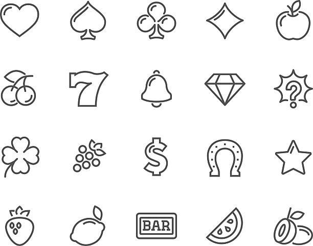 Line Slot Machine Icons - ilustración de arte vectorial