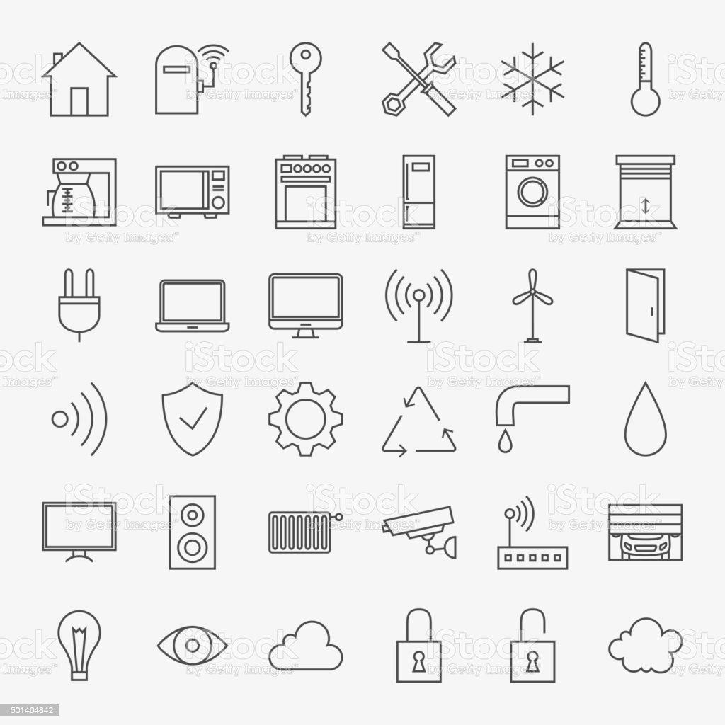 Line Smart Home Icons Big Set vector art illustration