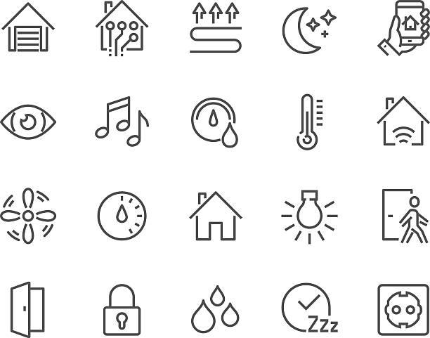 ilustrações de stock, clip art, desenhos animados e ícones de line smart house icons - house garage