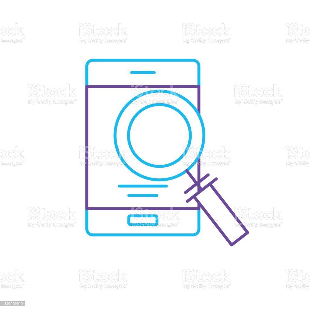 line smartphone technology information with magnifying glass vector art illustration
